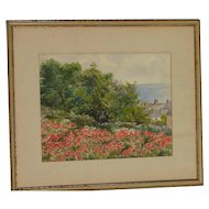 """Impressionist watercolor painting coastal landscape scene with the poppies and trees signed """"D. F."""""""