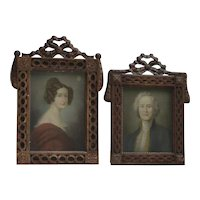 PAIR European German 1800 of pastel drawings paintings Young lady and a man