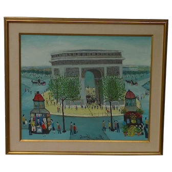 Jean Busquets (1895 - 1962) well listed French artist naive oil painting of Arc de Triomphe Paris