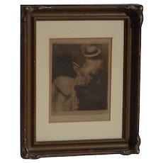 Heinrich Jakesch  (1867 - 1909) Czech listed artist original soft ground etching of a lady reading a book