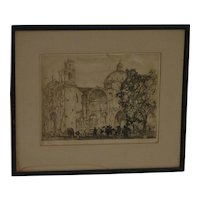"Charles K. Gleeson  (1878-1948) American artist etching signed in pencil and titled  ""Sunday morning  Cuernavaca"" in Mexico"