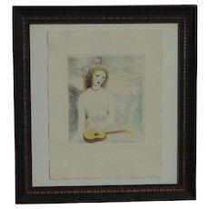 "Marie Laurencin (1883 - 1956) hand colored etching ""Jeune Fille a la Guitare"""