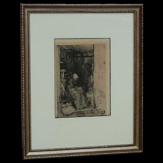 "JAMES ABBOTT McNEILL WHISTLER (1834-1903) American artist original etching ""La Vieille Aux Loques"""