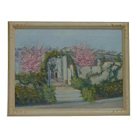 California art impressionist landscape painting of Wisteria Vine Garden Sierra Madre circa 1939 by Agnes Elliott