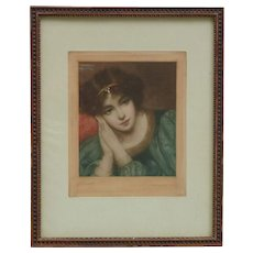 "Minnie Cormack (1862 - 1919) Irish artist painter engraver ""Desdemona"" color print mezzotint signed in pencil young woman portrait"