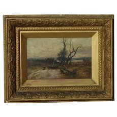 William Manners (1860 - 1930) well listed English artist signed 19th century oil painting with sheep and shepherd in a landscape