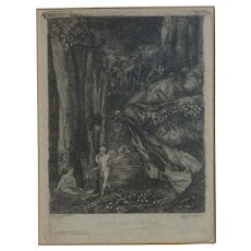 "Auguste Delatre (1822 - 1907) French artist etching  ""Le Bucheron et Mercure"" ""The Woodcutter and Mercury"" circa 1852"