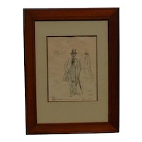 Jean - Louis Forain (1852 -1931) French well listed artist original color lithograph signed in pencil