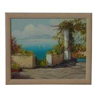 Colorful  impressionist Mediterranean seascape with mountains landscape oil on board painting