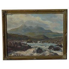 Stolen Scottish art signed impressionist contemporary mountains river landscape oil painting of Skye Mountains
