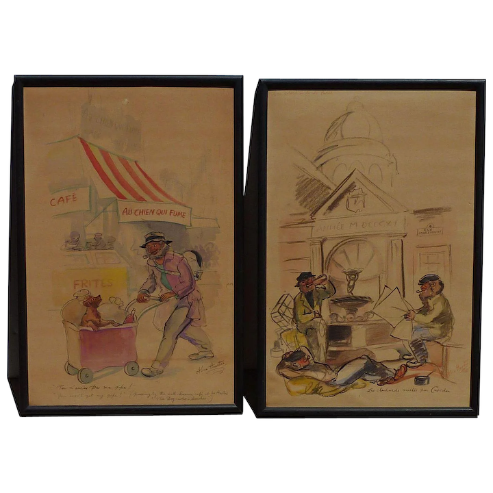 Pair Watercolor Paintings By Alice Huertas French 20th Century