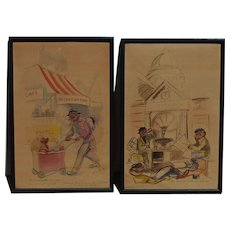 PAIR watercolor paintings by Alice Huertas French 20th century artist Paris street satire art