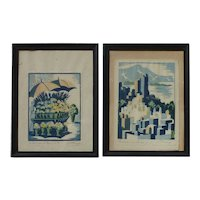 """PAIR F. Chang early 20th century lithographs of San Francisco """"Russian Hills"""" and """"Flower Stand"""" signed by artist in pencil"""