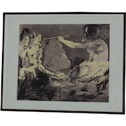 Jorge Castillo (1933-) pencil signed etching homage to Picasso by well listed Spanish contemporary artist
