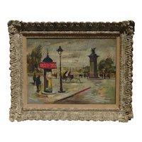 Amadio artist Paris street scene rainy day impressionist oil painting circa 1960 with Cinzano kiosk