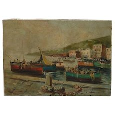 Mediterranean signed coastal landscape with boats in harbor impressionist oil painting circa 1960