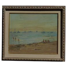George Constantine American artist impressionist oil painting beach scene children playing at the beach