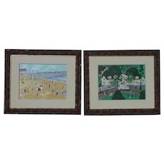 Pair of colorful park and  beach scenes primitive folk art style naive paintings
