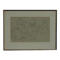 Gregoire Johannes Boonzaier (1909 -2005) South African art ink drawing of figures