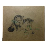 Cat art Meta Pluckebaum (1876 - 1945) pencil signed etching of adorable kittens with a blue bow