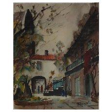 Nestor  Hippoyle Fruge  American Louisiana artist street scene watercolor painting