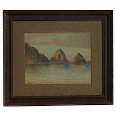 Eugene C. Frank (1844 - 1914) German born American artist watercolor painting seaside rocks