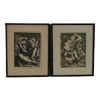 PAIR Jewish Judaica religious art 20th century lithographs signed Schoenberg