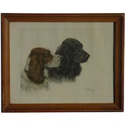 Georges Frederic Roetig (1873 - 1961) French well listed artist aquatint etching of Retriever or Spaniel hunting dogs