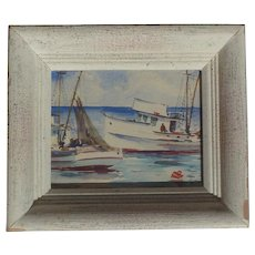 Helen Schepens-Kraus (1916 -1988) American listed artist small watercolor painting of a fishing boats