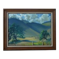 J. Appleton California landscape plein air art impressionist painting of Golden Hills with horses