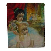Santini Poncini 20th century French-Swiss listed artist oil painting of a two little girls