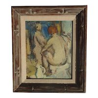 Karel Jan Van Den Heuvel (1913 - 1991) Belgian well listed artist impressionist oil painting of a two nude figures 1943