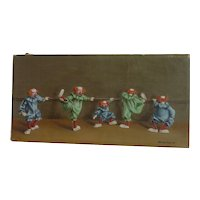 Edith Tuchman American 20th century artist whimsical oil painting of clowns as ballerinas dater 1954