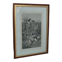 Joseph Bishop Pratt (1854 -1910) large engraving 1883 of dogs jumping over fence