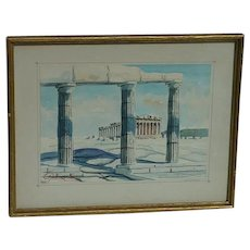Watercolor of the world-famous Parthenon classical temple in Athens Greece Signed