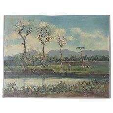 Impressionist landscape oil painting by 20th century Italian artist N. Petrilli