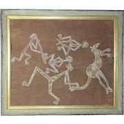 Vintage Australian aboriginal art painting on the bark  figures kangaroo Australia unsigned