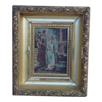 20th century vintage decorative painting on wood panel of Italian women collecting water from the fountain