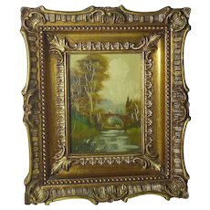 Small vintage decorative framed  artist signed oil on copper Italian landscape painting