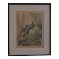 "Don Freeman  (1908 - 1978) American listed artist satirical lithograph print circa 1940 ""The manicure"" New York City street"