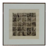 """Grant"" artist pencil signed modern contemporary black and white shades geometric squares original lithograph 1981"