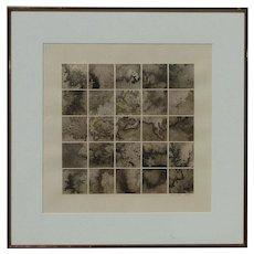 """Grant"" artist pencil signed modern contemporary black and white shades geometric squares original lithograph 1981"