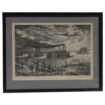 "John McCrady (1911 -1968) American listed artist pencil signed lithograph ""The Robert E. Lee and the Natchez"""