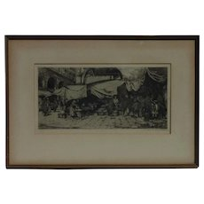 Tanna Kasimir Hoernes (1887-1972) pencil signed etching of European street market by wife of Luigi Kasimir