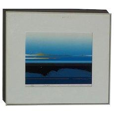 "1983 Original pencil signed contemporary  ""DUSK"" landscape sunset screen print serigraph blue colors dominate"