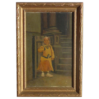 Nelson A. Primus (1842 - 1916) American artist oil painting of Asian child in San Francisco 1902