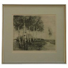 Original etching of paper birches trees  by a creek signed by the artist in pencil
