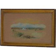 Small 1912 signed B.J. Kelly watercolor painting of Corinthian Island Tiburon San Francisco California