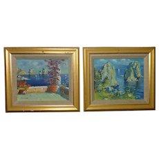 Pair small Impressionist Italian seascape with big rocks landscape oil paintings artist Silvani