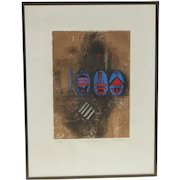 French color aquatint etching whimsical egg shape blue red three birds figures signed in pencil